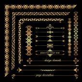 Collection of gold vintage calligraphic design elements page decoration frames and borders