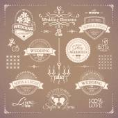 Big set of white classic wedding vintage badges and decorative elements in retro design on the beige background