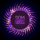 New Year 2016 background Violet shining round frame with stars in the disco style