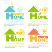 Collection of 4 logo of eco home in the shape of the letter H  Modern building technologies and energy supply