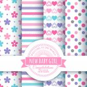 Set of 4 colorful seamless patterns and round congratulatory logo with tape and sunburst Collection for decoration products for the newborn girl in pink tones