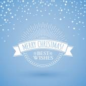 Classic circle vintage badge in retro design for Christmas and New Year with ribbon and sunburst on the blue background with snowfall