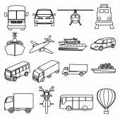 Přeprava vozidel line sada ikon