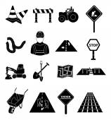 Road construction icons set vector illustration