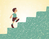 Vector illustration Boy goes up the stairs Way to success