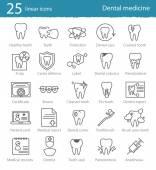 Zubní lékařství tenká linie ikony