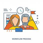 Concept of workflow process and teamwork - organization of the working process in office striving for success Color Line icons Flat Vector illustration