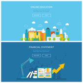 Flat design modern vector illustration icons set of mobile education online training courses business analysis financial report consulting School and university building icon Urban landscape