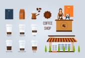 Coffee shop illustration design elements Young shop assistant serving a cup of coffee Coffee flat collection drink Flat illustration