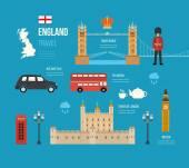 Velká Británie ploché ikony