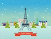 Cute invitation card with winter city life and space for text Vector illustration