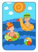 Dívka a chlapec, koupání v moři na nafukovací kruhy, slunce svítí jasně