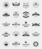 Set Mountains Logos Badges and Labels Vintage Style  Design elements retro vector illustration
