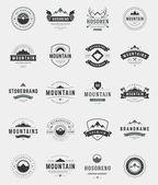 Set Mountains Logos Badges and Labels Vintage Style  Design elements retro vector illustration