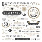 Retro vintage typographic design elements. Arrows, labels ribbons, logos symbols, crowns, calligraphy swirls ornaments and other