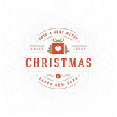 Merry Christmas Typography Greeting Card and Decorations Vector Background Christmas tree and gift box on textured paper