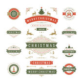 Christmas Labels and Badges Vector Design Decorations elements Symbols Icons Frames Ornaments and Ribbons set Typographic Merry Christmas and Happy Holidays wishes