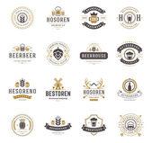 Set Beer Logos Badges and Labels Vintage Style Design elements retro vector illustration