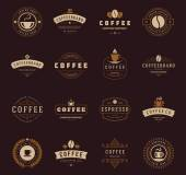 Coffee Shop Logos Badges and Labels Design Elements set Cup beans cafe vintage style objects retro vector illustration