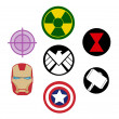 Постер, плакат: Set of Avengers Marvel logos