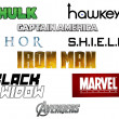 Постер, плакат: Set of Avengers Marvel logos printed on paper