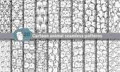 Cartoon animal seamless patterns pattern swatches included for illustrator user pattern swatches included in file for your convenient use