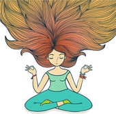 Ragazza di meditazione su un fondo bianco