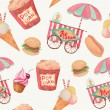 Постер, плакат: Watercolor fast food pattern