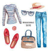 Watercolor Sea style fashion set Hand painted trendy clothes objects: singlet jeans hat bag in a marine style red moccasins stripes sunglasses sea shell Vector summer look collection