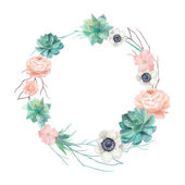 Watercolor succulents and flowers wreath Vintage round frame with tree branch pastel peonyroses anemones succulents rose hip Floral art print in vector