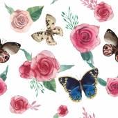Muster mit Blumen und butterfles