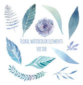 Watercolor floral set with herbs lisianthus fern elements set Vintage blue leaves flowers and branches Vector hand drawn design illustration