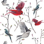 Watercolor seamless pattern with swallow red cardinal birds and tree twigs Vector hand drawn spring background Vintage repeating wallpaper