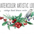 Постер, плакат: Watercolor artistic wild berries and bird logo