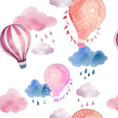Watercolor seamless pattern with air balloons and clouds Hand drawn vintage collage illustration with hot air balloon flag garlands abstract pastel clouds and rain drops Vector kids texture
