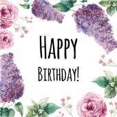 Watercolor flowers Happy birthday card.
