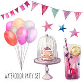 Watercolor Happy birthday party set Hand drawn vintage celebration objects: lemonade glass air balloons flags garland naked cake stars Vector design elements