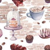 Watercolor sweets pattern Seamless texture with hand drawn food objects: cappuccino cup chocolate rustic cake pink donut nuts candy coffee beans on brick wall background Vector cafe wallpaper