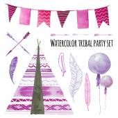 Watercolor tepee wigwam party set Hand drawn tribal design elements: purple wigwam tribal arrows party air balloons flags garland various feathers isolated on white background Vector clip art
