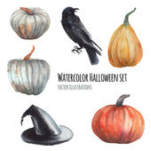 Watercolor Halloween set Hand drawn holiday illustrations isolated on white background: carved faces pumpkins witch hat black raven plants with thorns Artistic autumn decor clip art