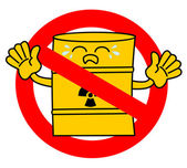 No road sign with cute sad cartoon toxic waste barrel concept vector illustration