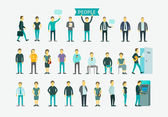 Set with 26 different people flat conception vector illustration ATM queue turn the door