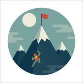 Mountaineer climb a snow mountain Colorful vector icon