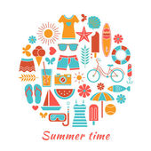 Stylized colorful vector background with summer icons isolated on white