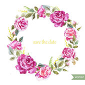Beautiful watercolor vector frame with summer roses