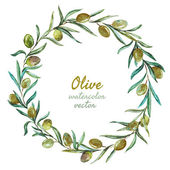 Beautiful vector wreath with tasty olives with leafs