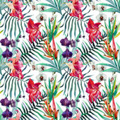 Beautiful vector pattern with watercolor tropical flowers