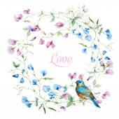 Beautiful vector frame with nice watercolor flowers