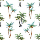 Beautiful vector pattern with nice watercolor palm trees