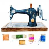 Vintage retro watercolor sewing machine